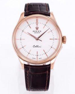 高仿复刻MKS厂-Rolex- 劳力士-切利尼系列50505白盘棕带腕表
